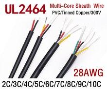 1M/2M 28AWG UL2464 câble gainé canal ligne Audio 2 3 4 5 6 7 8 9 10 noyaux isolés fil de contrôle de Signal en cuivre souple