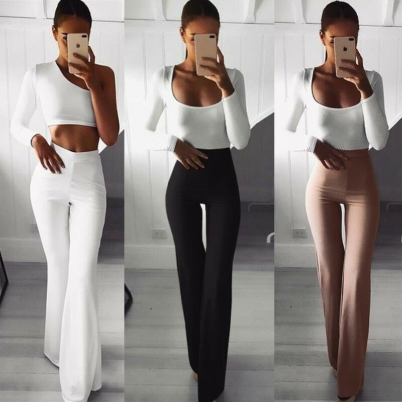 Hirigin Summer Autumn Solid Elegant Female Lady Women's Palazzo Flared Wide Killer Legs Pants High Waist OL Career Long Trousers