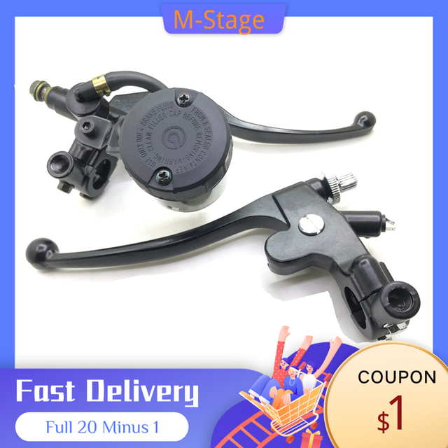 """For Harley Triumph Cafe Racer 1 Pair Universal 7/8"""" Motorcycle Brake Clutch Pump Master Cylinder Lever With Fluid Reservoir Cap"""