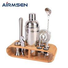 AIRMSEN 750ml acier inoxydable Cocktail Shaker mélangeur boisson barman navigateur Kit barres ensemble outils avec support de casier à vin