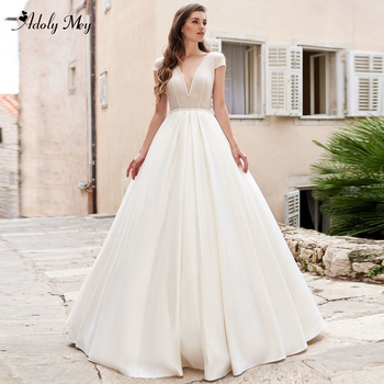 Adoly Mey Charming Scoop Neck Backless A-Line Wedding Dresses 2020 Luxury Sashes Beaded Satin Court Train Princess Bridal Dress