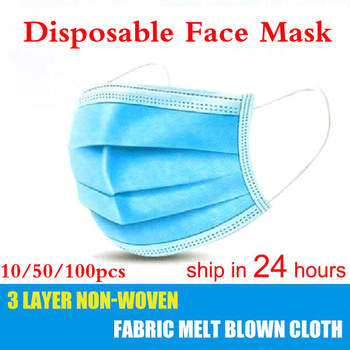 10pcs/50Pcs/100pcs Mask Disposable Non wove 3 Layer Ply Filter Mask mouth Face mask Breathable Earloops Masks