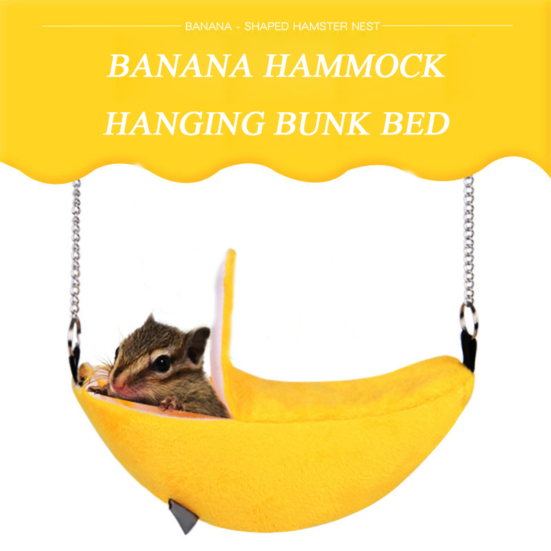 Lovely Banana Shape Rat Mouse Living Nest House Plush Cotton Hamster Warm House Hammock Hanging Tree Beds Hamster Accessories
