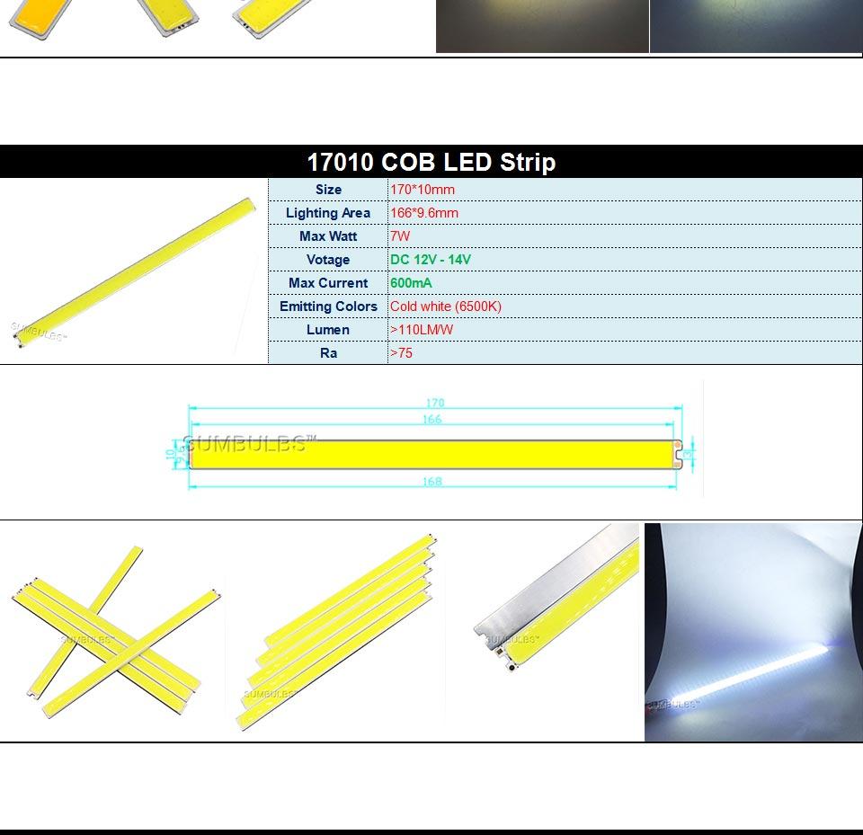 DC12V COB LED Strip Light Source 5W 10W 20W 50W 200W 300W LED Bulb White Blue Red Flip Chip COB Lamp DIY House Car Lighting 12V (10)