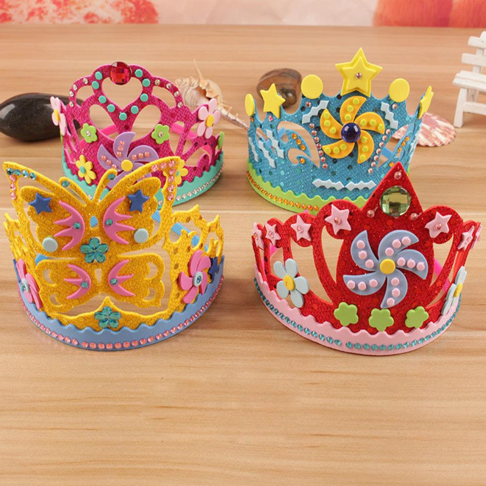 Kids DIY Crown Toy Children Flowers Stars EVA Foam Paper Sequins Crown DIY Art Handmade Craft Toy Party Birthday Hat