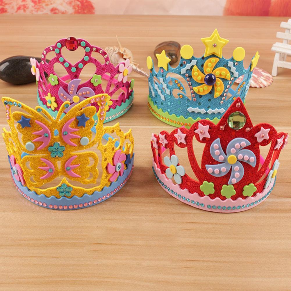 Kids DIY Crown Toy Children Flowers Stars EVA Foam Paper Sequins Crown DIY Art Handmade Craft Toy Party Birthday Hat