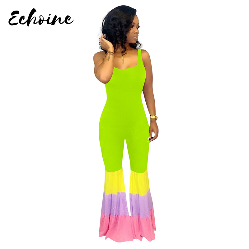 Summer Women Colorful Block Striped Patchwork Sexy Flare   Jumpsuit   Night Club Party Romper Playsuit Bodycon Sleeveless Overalls