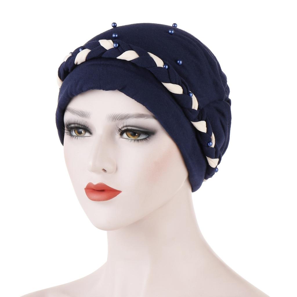 Hair Loss Head Scarf Hijab Women Turban Cap Cancer Chemo Hat Beads Braid Muslim