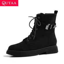 QUTAA 2020 Flock Round Toe Lace Up Zipper Casual Frauen Schuhe Winter Warme Pelz Mode Metall Dekoration Stiefeletten Größe 34-43(China)