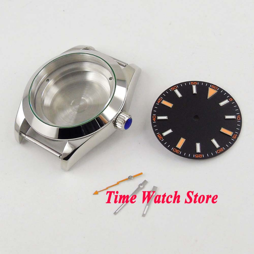 PARNIS 40mm Polished 316L Stainless Steel Watch Case Fit Miyota 8215 821A Movement + Dial + Hands C10