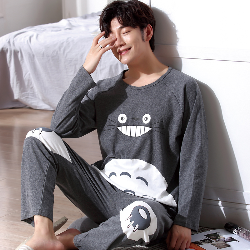 Yidanna Pajamas Set For Men Sleepwear Cat Animal Prints Nightwear Winter Long Sleeved Nightie Male Plus Size Pyjamas Autumn Suit