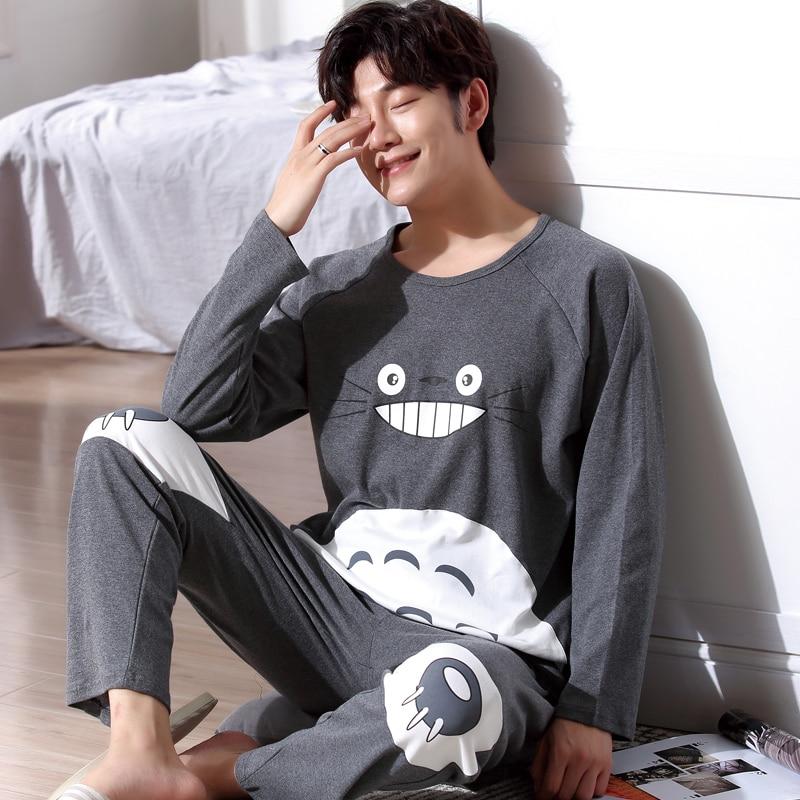 Yidanna Pajamas Set For Men Sleepwear Cat Animal Prints Nightwear Winter Long Sleeved Nightie Male Plus Size Pyjamas Autumn Suit