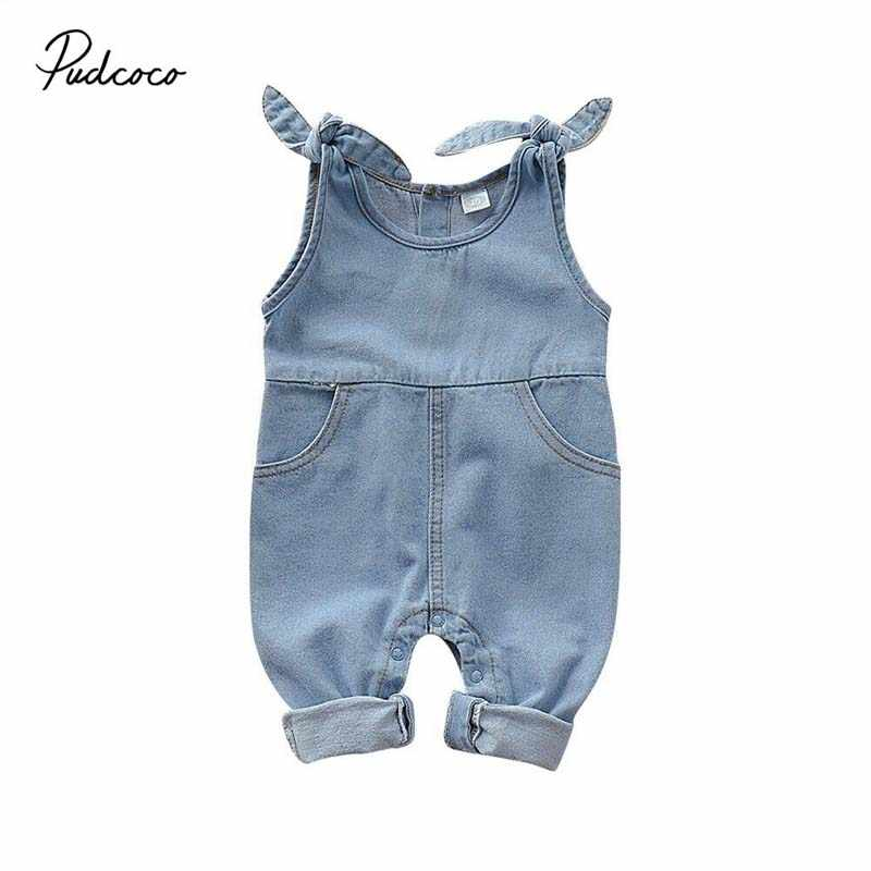 2020 Baby Summer Clothing Newborn Infant Baby Boy Baby Girl Clothes Denim Romper Jumpsuit Outfit Set Sleeveless Solid Overall