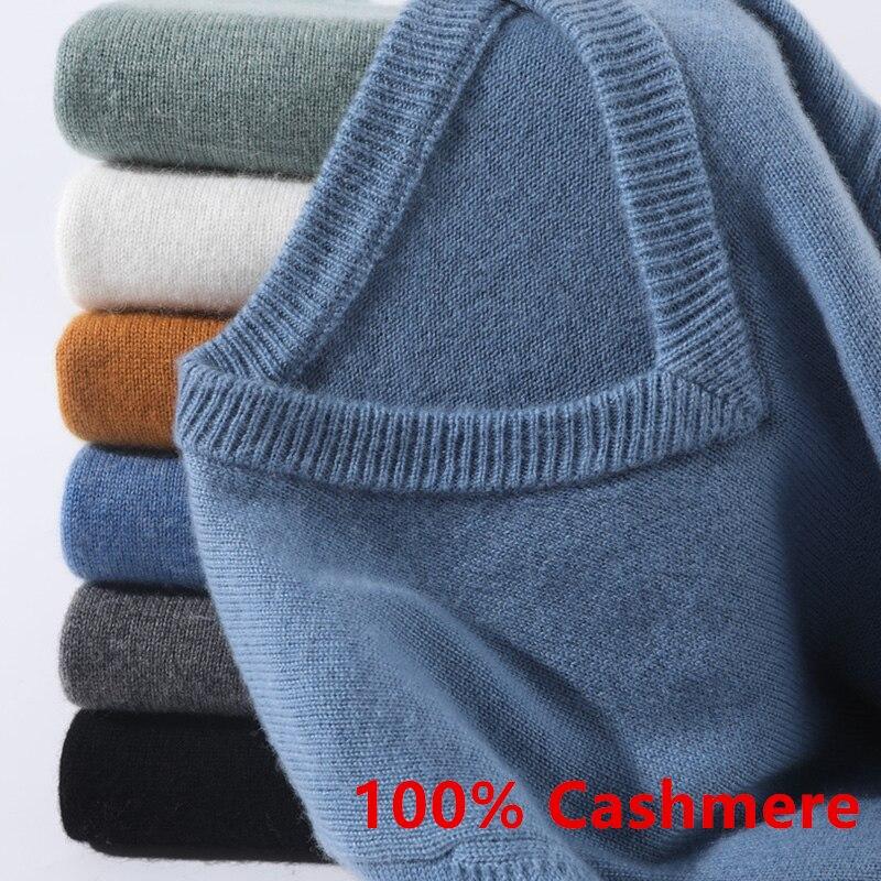 Супер 100% кашемировый свитер для мужчин пуловер 2021 осень-зима Классические Теплые Свитера с v-образным вырезом мужской джемпер Jersey Hombre Homme