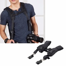 цена на Double Dual Shoulder Camera Neck Strap Quick Release for Digital SLR DSLR Camera Camera belt