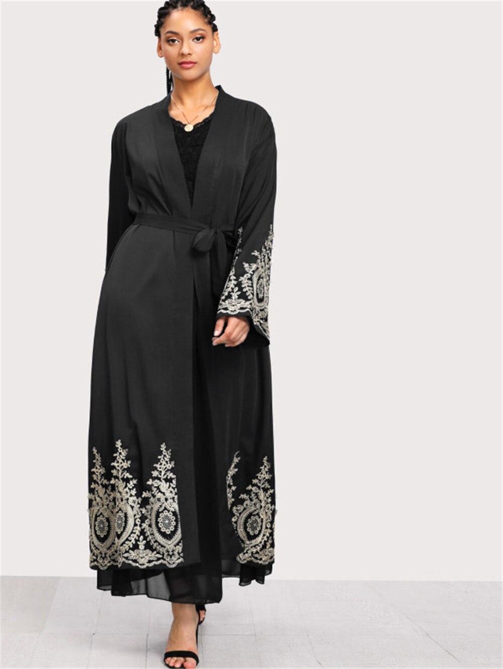 Plus Size Ramadan Abayas Women Kaftan Dubai Abaya Kimono Cardigan Lace Hijab Muslim Dress Jilbab Caftan Turkish Islamic Clothing