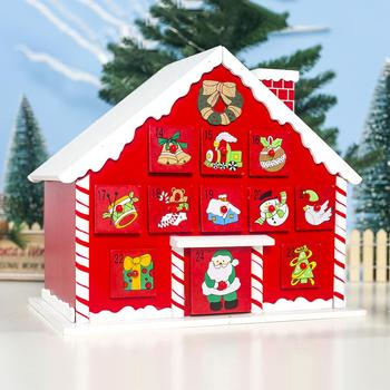 Double-side Wooden Calendar Christmas Advent Calendar With Storage Case House Ornament For Christmas Decoration