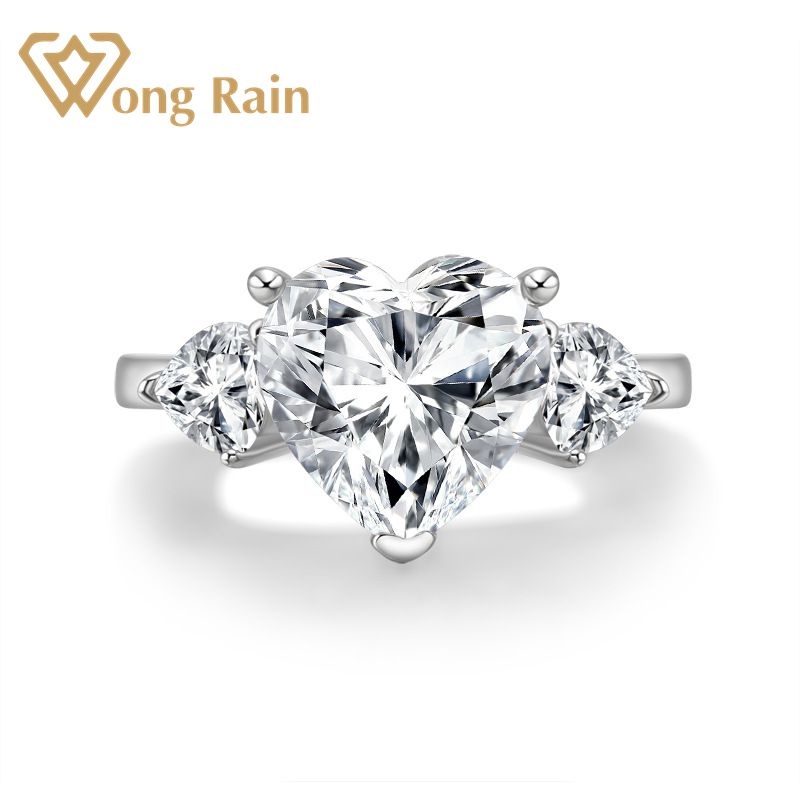 Wong Rain Romantic Cute 925 Sterling Silver Created Moissanite Gemstone Diamonds Wedding Engagement Ring Fine Jewelry Wholesale