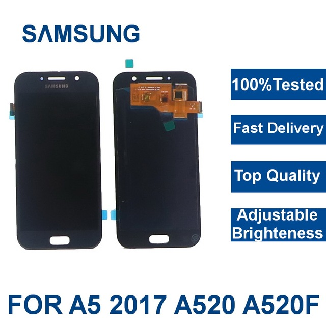 """5,2 """" LCD Display For Samsung Galaxy A5 2017 A520F SM-A520F A520 LCD Display Touch Screen Digitizer Assembly replace With frame"""