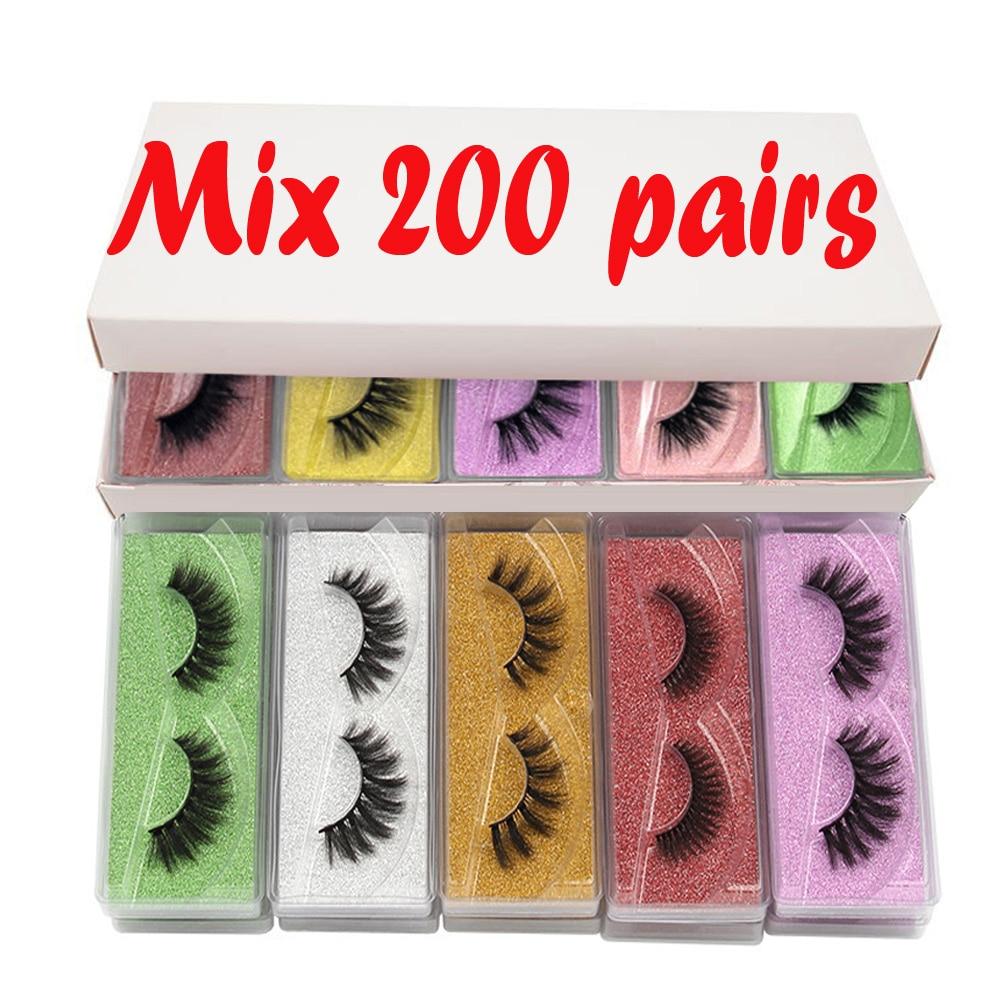 LEKOFO Mink-Lashes Bulk-Extension Fluffy Natural Long Wholesale Faux-Cils 30/50/100-/..