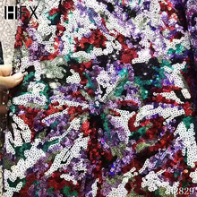 HFX high quality African French net lace fabric in purple red with shining sequins embroidery for party dress F2829