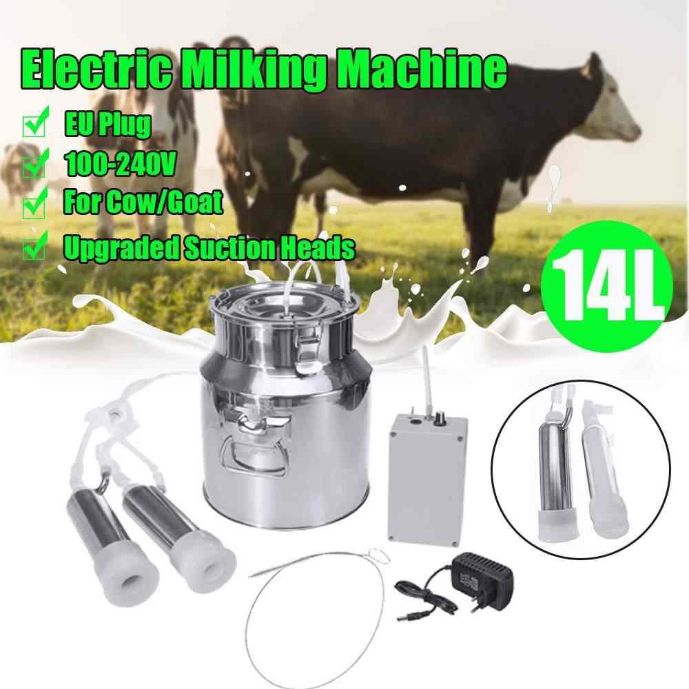 14L 安全電気搾乳機牛ヤギ羊搾乳ポータブルバレルタンクダブルヘッドとポンプシリコーンホース搾乳ツール