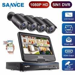 Камера видеонаблюдения SANNCE FHD 1080P, система 5 в 1, 4 канала, видеорегистратор с 10,1-дюймовым ЖК-дисплеем и 4 шт., набор камер наблюдения для улицы