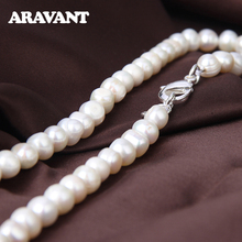 8MM White/Pink/Purple Natural Pearl 925 Silver 16/18/20 Inch Necklace Chain For Women Wedding Jewelry
