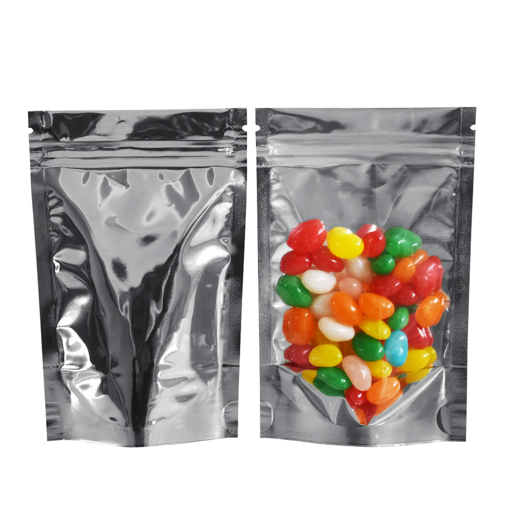Multi-Size Silver Stand Up Zip Lock Aluminum Foil Package Packing Bag Front Clear Plastic Moisture Proof Food Storage Bags