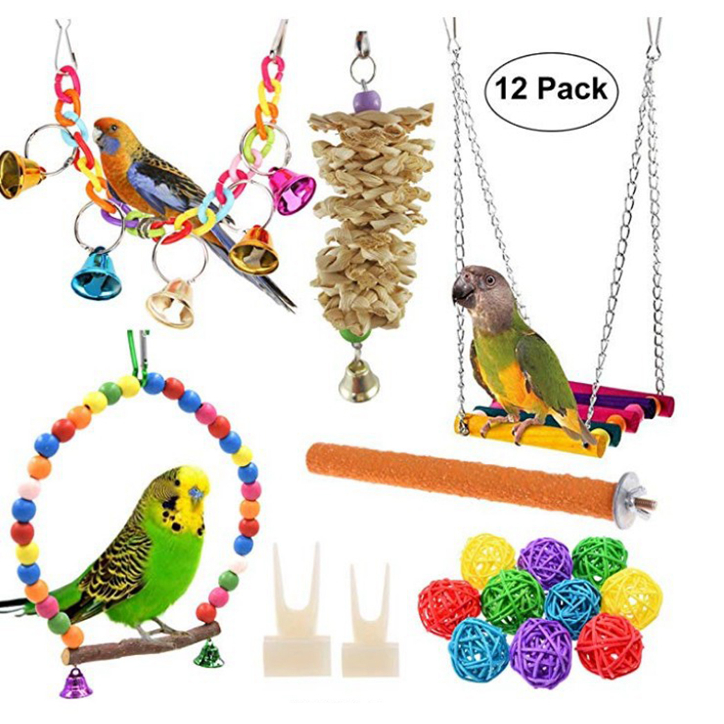 12pcs Parrots Toys And Bird Accessories For Pet Toy Swing Stand Budgie Parakeet Cage African Grey vogel speelgoed parkiet