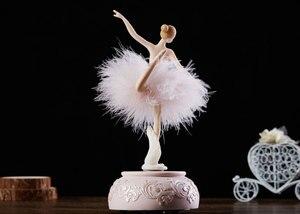 Image 5 - Elegant Ballerina Dancing Girl Music Box Swan Lake Carousel Feather Musical Box Wedding Birthday Gift for Girls Friend