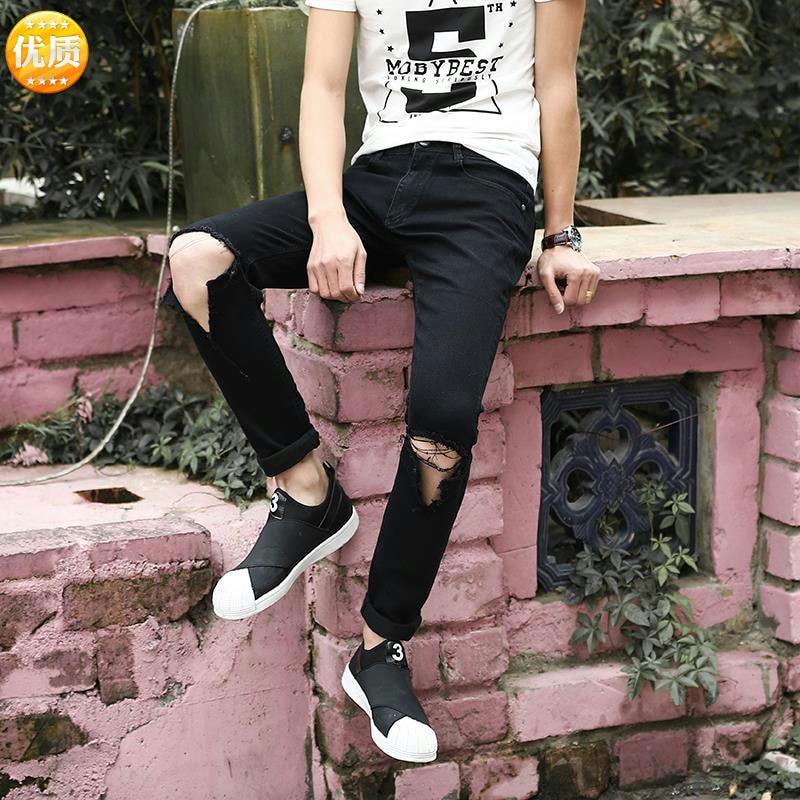 Autumn Slim-Fit Jeans Male Adolescents Stretch Hole Feet Pants Slim Men's Pants Feet
