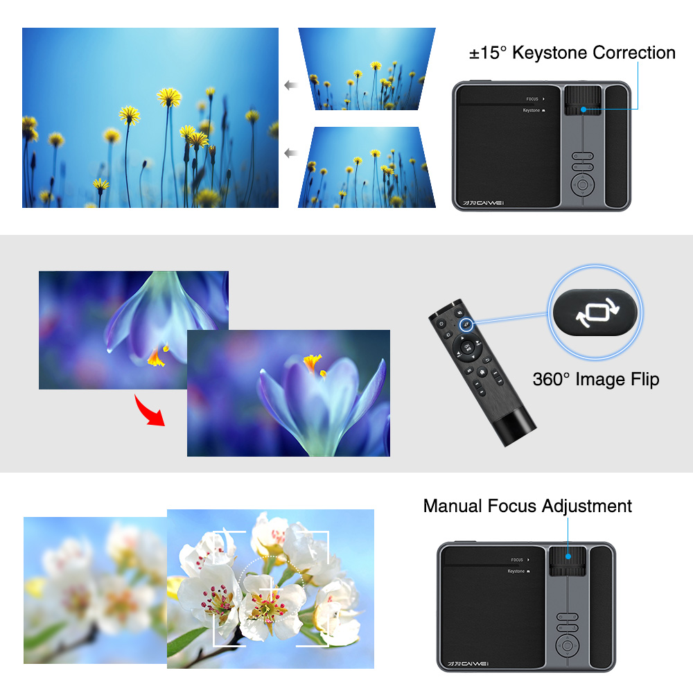Wifi projetor portátil bluetooth led sem fio inteligente android 3200 lumen casa ao ar livre filme jogos com hdmi usb vga av sd - 2