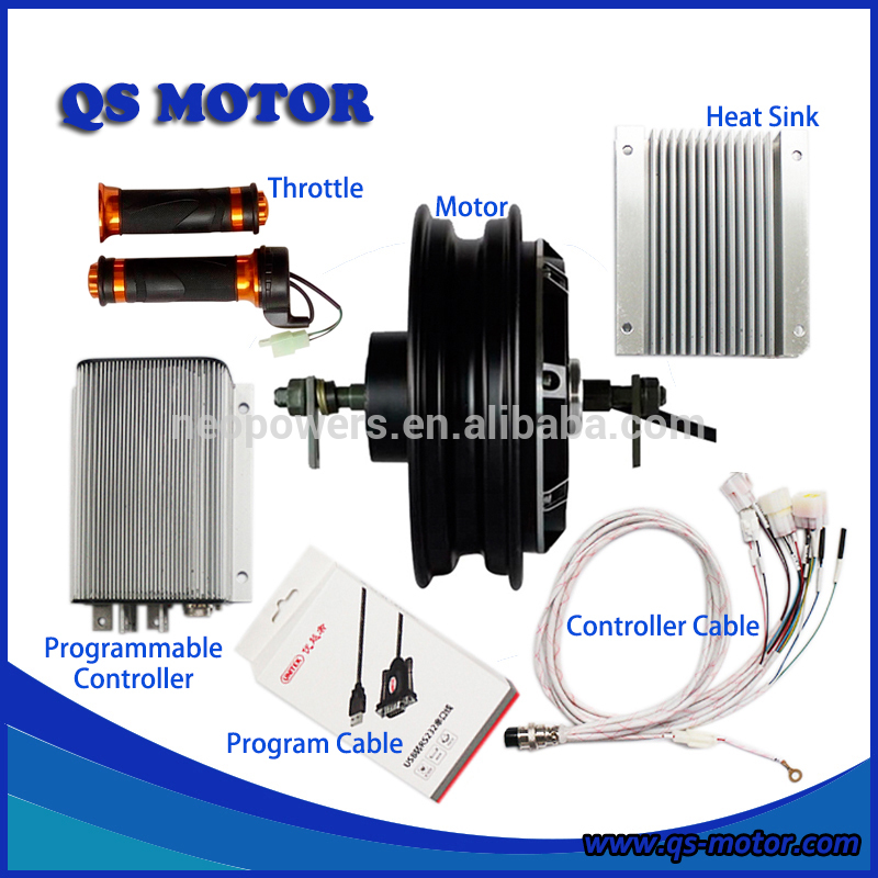 <font><b>QS</b></font> <font><b>4000W</b></font> 72V 10inch In-Wheel Hub <font><b>Motor</b></font> with Kelly Controller KEB72601 and Throttle For Electric Scooter Conversion Kits image