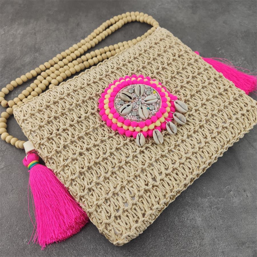 Summer Beach Boho Women Silk Tassel Semicircle Zipper Shell Crossbody Shoulder Bag