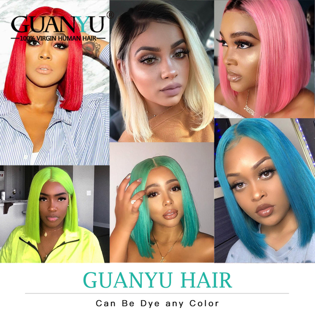 Pink Bob Lace Front Wigs Human Hair 13X4 Pre Plucked 613 Blonde Blue Red Grey Green Ombre Short Bob Wigs For Black Women Remy 5