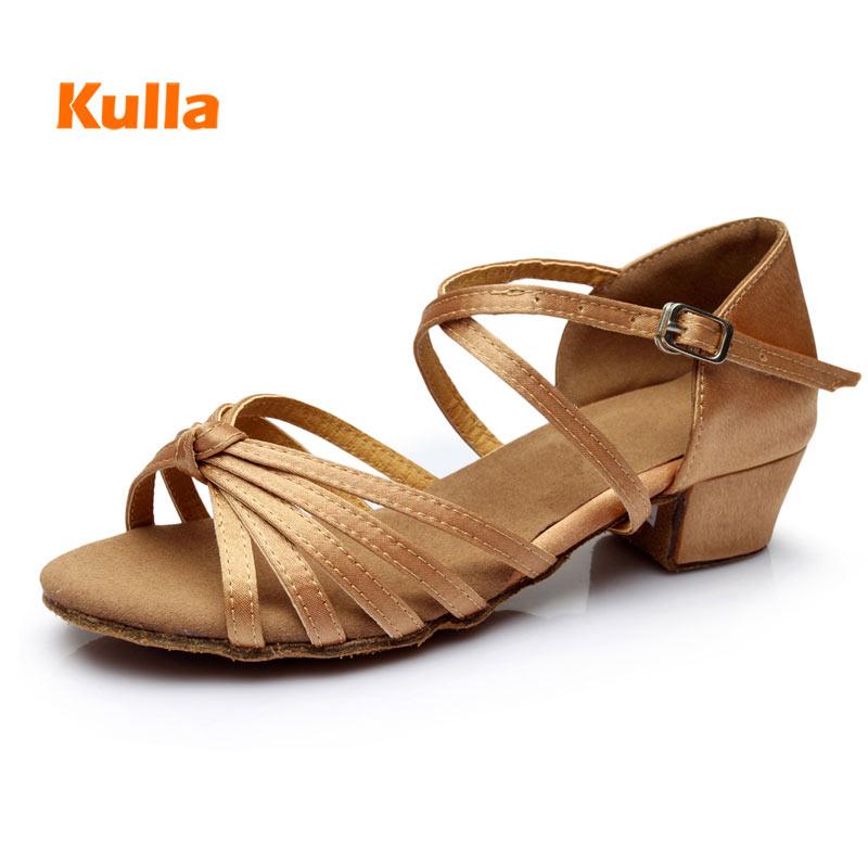 Kids Latin Dance Shoes Low Heels Salsa Dancing Shoes Women Girls Ballroom Tango Shoes Children Professional Practice Dance Shoe