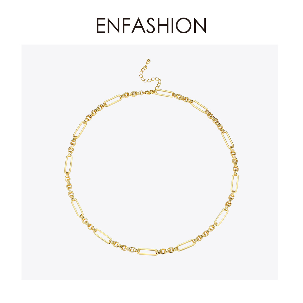 Image 2 - ENFASHION Long Link Chain Choker Necklace Women Gold Color Statement Necklace Lady Fashion Femme Jewelry Dropshipping P193059Chain Necklaces   -