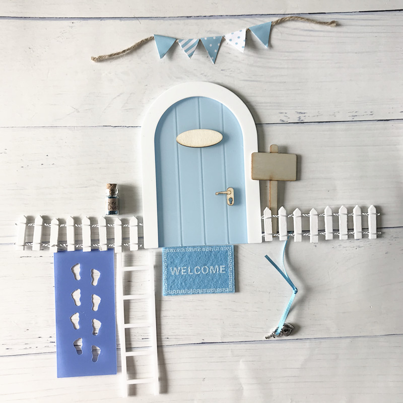 Mini Fairy Door Hand Made Cute Pink Mouse Hole, Miniature Wooden Door With Bunting And Personalised Sign Post