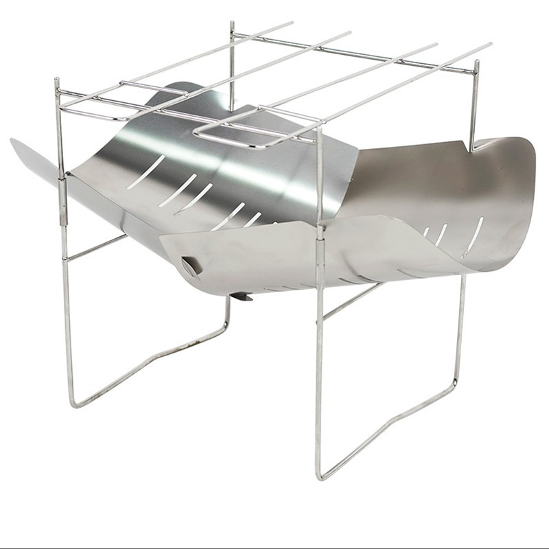 Ultralight Outdoor Wood Stove Burner Multifunctional Folding Alloy Heating Stove Barbecue Charcoal Stove