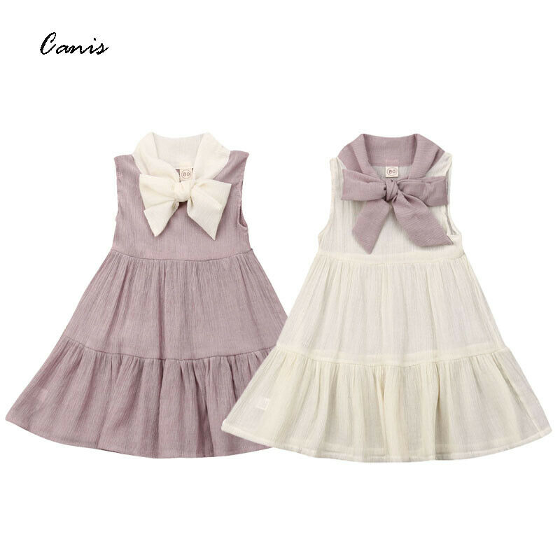 Princess Gown Dress Party-Pageant Toddler Baby-Girls Kids Sleeveless Summer Hot Bow Shift
