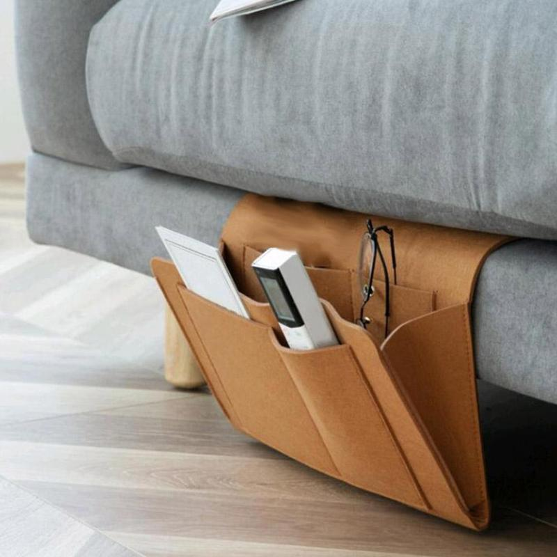 Storage Organizer Felt Bedside Hanging Storage Bags Mobile Phone Remote Control Sundries Book With 2 Inner Pockets
