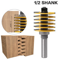1pc 1/2 Shank Milling Cutter Woodwork 2 Teeth Adjustable Finger Joint Router Bit Tenon Cutter Industrial Grade For Wood Tool