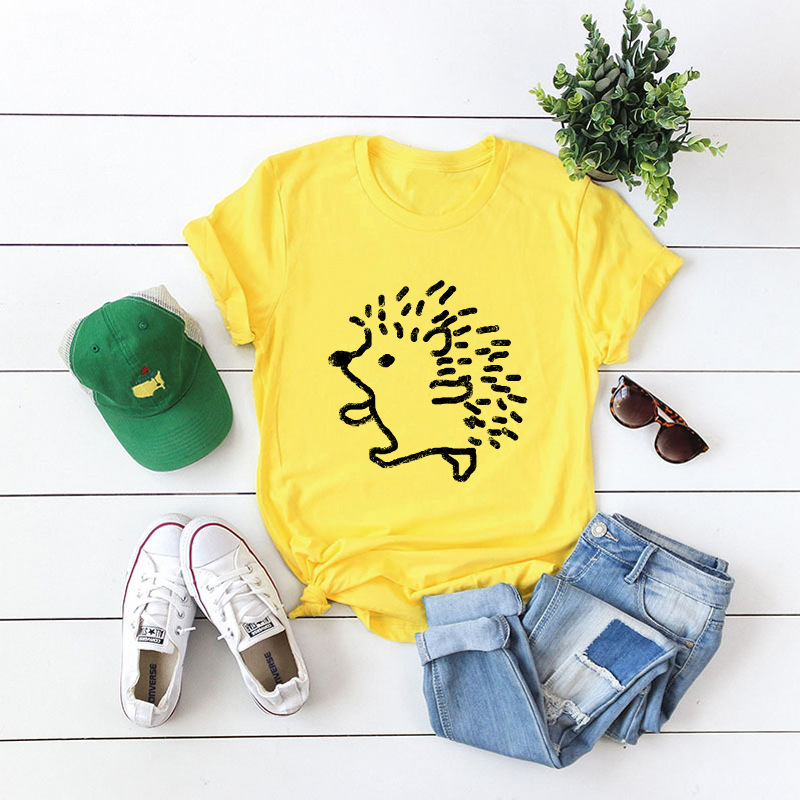 He650f1af02664fe79fc5e7c7dcbc7c72W - JFUNCY Summer 100% Cotton Women T-shirt Plus Size S-5XL Graphic Tees Short Sleeve Female Tops Cute Hedgehog Printed T Shirt