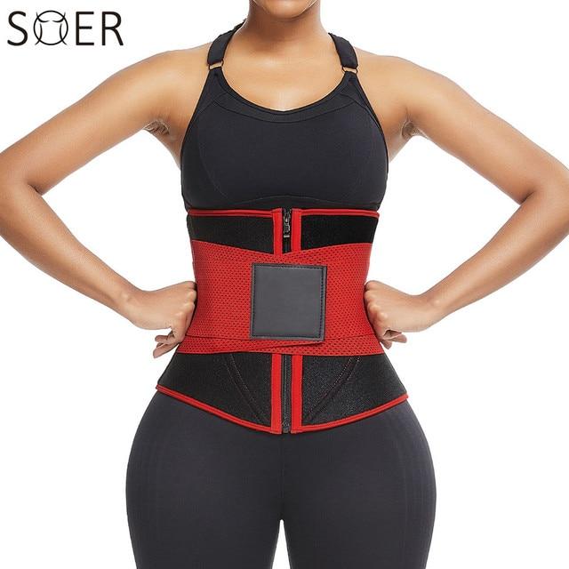 SHER Neoprene Sauna Waist Trainer Corset Sweat Belt for Women Weight Loss Compression Trimmer Workout Fitness