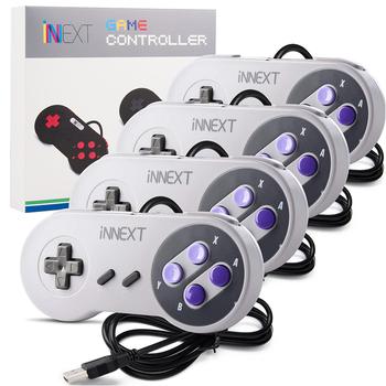 4 sztuk partia kontroler USB Gamepad Super kontroler do gier dla SNES USB klasyczne kontrolery gier Gamepad na PC MAC gry tanie i dobre opinie LUXMO LUXURY MOBILE Nintendo Gamepady