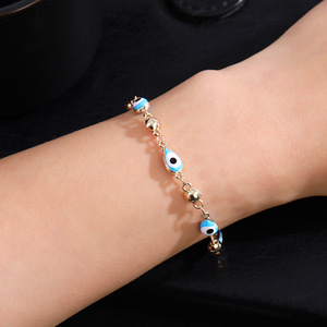 Image 5 - Gold Color Plated Blue Evil Eye Crystal Muslim Charm Islam Bracelets for Women Fashion Jewelry 3 Turkish Blue Eye Bracelet