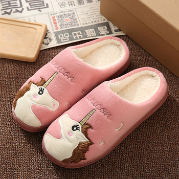 Cute Unicorn Women Winter Home Slippers Cartoon Embroidery Soft Warm House Shoes Men Women Boys Girls Indoor Bedroom Slippers 3
