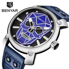 цена на BENYAR Watch Mens Casual Fashion Sports Luxury Brand Waterproof Quartz Leather Male Military Watches Men Clock Relogio Masculino