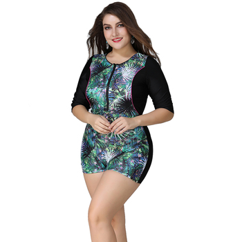 Plus Size Swimwear Women Large Size Half Sleeves Swimsuit Zipper Front Swimwear Female One Piece Suits Surf beach swimsuit 5XL